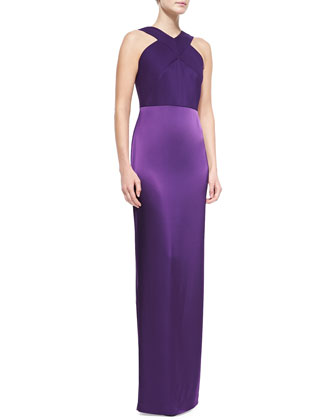 Silk Charmeuse and Liquid Satin Gown, Violet