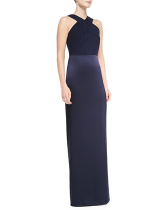Silk Charmeuse and Liquid Satin Gown, Navy
