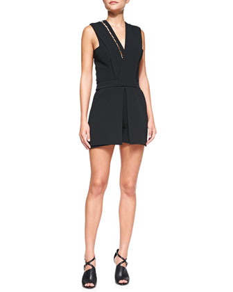 V-Neck Short Jumpsuit