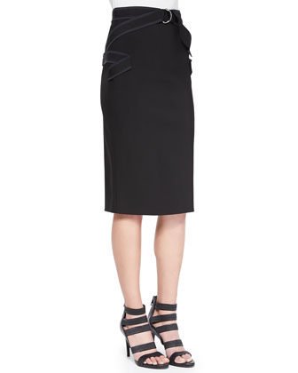Tab-Cuffed Crop Top & Contrast Zigzag Pencil Skirt, Black