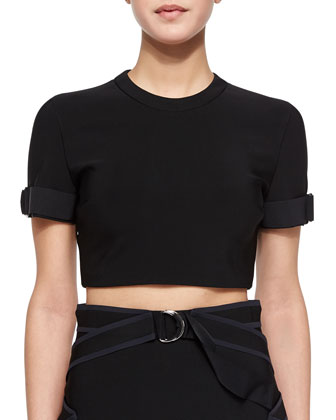Tab-Cuffed Crop Top, Black