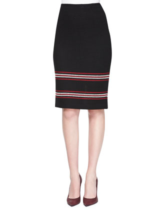 Cord Inlay Stripe Knit Pencil Skirt
