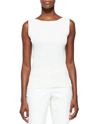 Rib Knit Bateau-Neck Shell, Cream