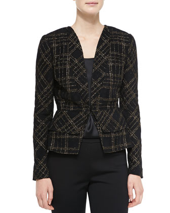 St. John Collection Metallic Plaid Knit Jacket & Liquid Satin Tank