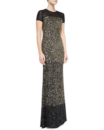 Hand Beaded Ombre Paillette Gown, Caviar/Gold