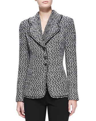 Eyelash Melange Tweed Knit Jacket