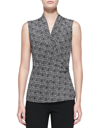 Graphic Plaid-Print Stretch Silk Top