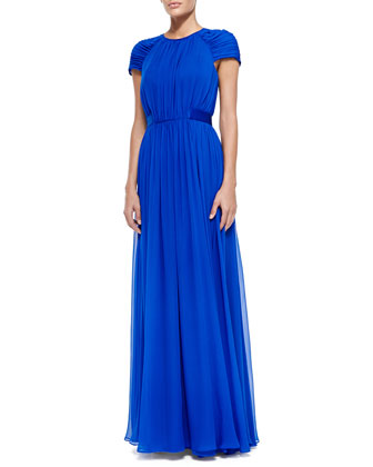 Silk Chiffon Shirred Gown with Cap Sleeves