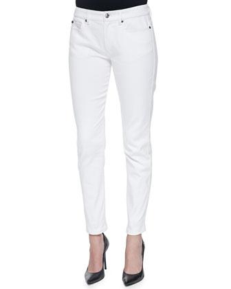 Soft Stretch Denim Pants, White