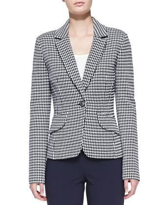 Textured Ribbon Check Knit Blazer, Luxe Crepe Scoop-Neck Shell & Crepe ...
