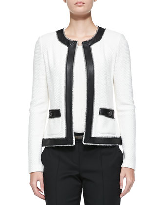 Boucle Trellis Knit Jacket with Leather, Rib Knit Bateau-Neck Shell, ...