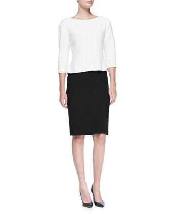 Nouveau Boucle Knit Bateau-Neck Dress