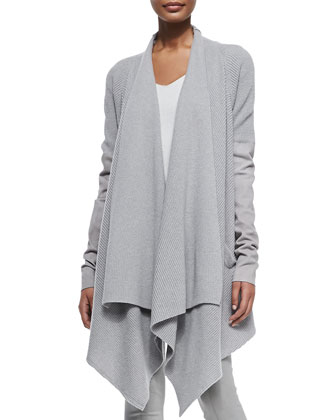 Cashmere Cozy Cardigan w/ Leather Sleeves