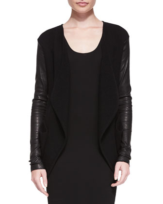 Cashmere Cardigan W/ Leather Sleeves & Sleeveless Scoop-Neck Tunic