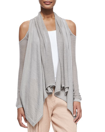 Self-Belted Fur-Collar Vest, Cashmere Cold-Shoulder Cardigan & Cropped Pants