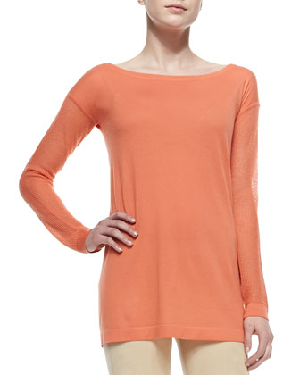 Cashmere Easy Long-Sleeve Jersey Tunic & Suede-Front Paneled Pants