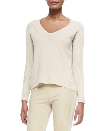 Cashmere Rib-Detail Sweater