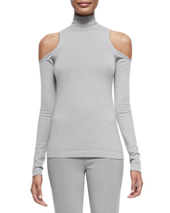 Cashmere Cold-Shoulder Cardigan & Long-Sleeve Cold-Shoulder Turtleneck Top