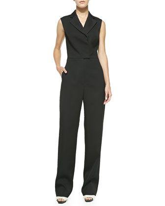 Sleeveless Collared Jumpsuit, Black