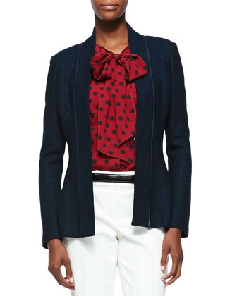 Tonal Scallop Knit Jacket, Navy