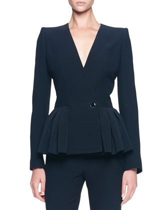 Asymmetric Pleated Peplum Jacket