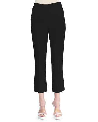 Cropped Leaf Crepe Pants, Black
