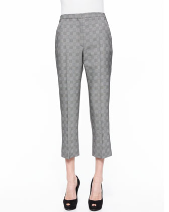 Prince Of Wales Cropped Flare Pants, Black/White