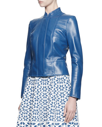 Glove Leather Jacket and Embossed Knit A-Line Dress