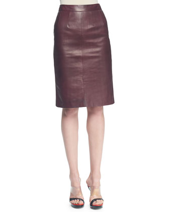 Plonge Leather Slim Skirt