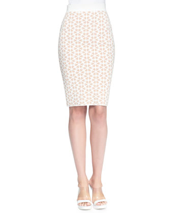 Embossed Knit Pencil Skirt
