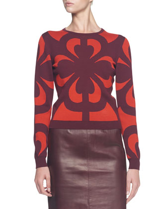 Graphic Jacquard Knit Top and Plonge Leather Slim Skirt
