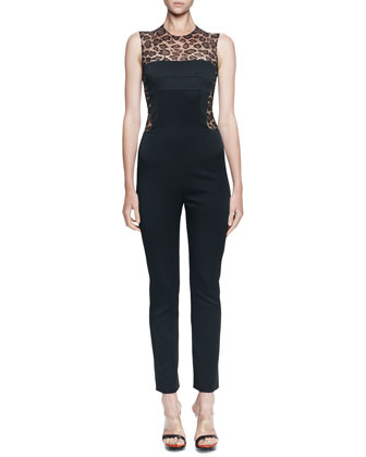 Leopard-Print/Solid Fitted Jumpsuit