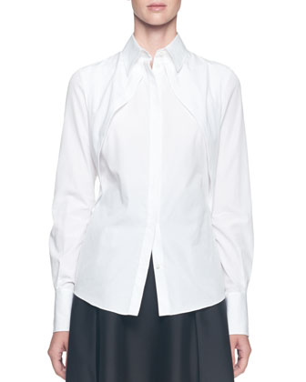Long-Sleeve Hidden-Placket Cutaway Blouse