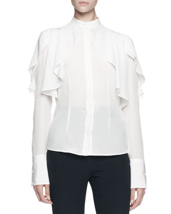 Draped Ruffle Blouse and Flat-Front Flared Pants