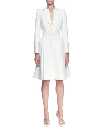 Double-Layer Lapel Coat Dress, Ivory