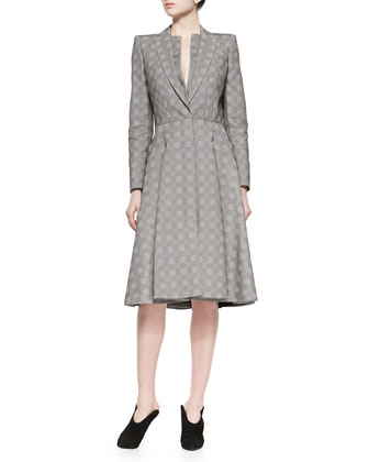 Shawl-Collar Square-Jacquard A-Line Coat
