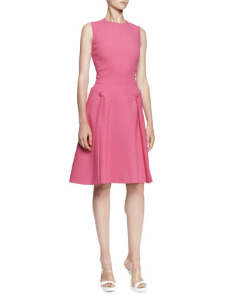 Sleeveless A-Line Crepe Dress, Bougainvillea