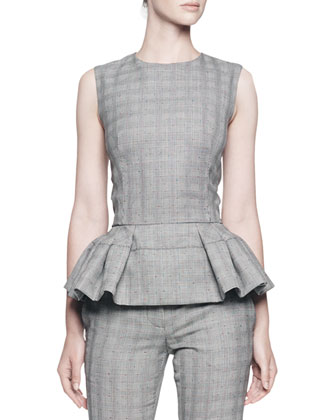 Sleeveless Plaid Top w/ Pleated Peplum & Glen Plaid Jacquard Cropped Pants ...