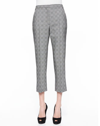 Glen Plaid Jacquard Cropped Pants