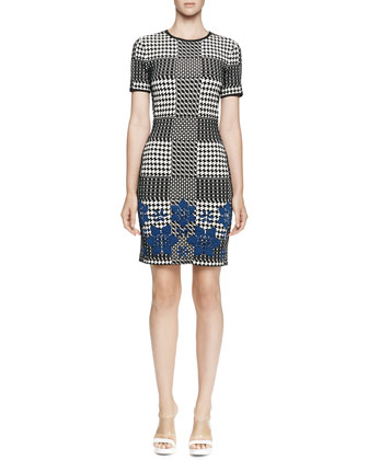 Short-Sleeve Plaid Sheath Dress