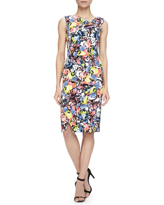 Mariko Floral-Print Cowl-Neck Draped Dress