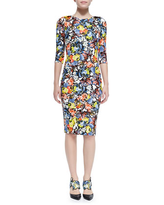 Wilhemina 3/4-Sleeve Floral Sheath Dress