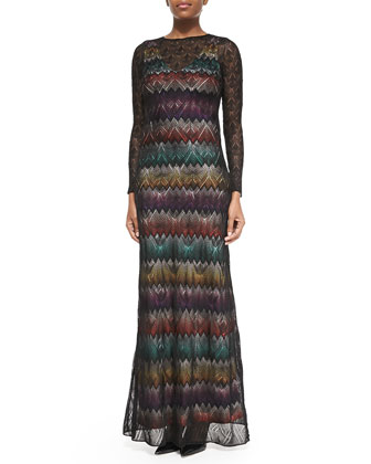 Long-Sleeve Zigzag Maxi Dress W/ Lace Overlay