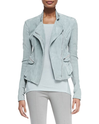 Suede Front-Zip Moto Jacket, Rolled-Cuff Jersey Cowl-Back Top & Pull-On ...