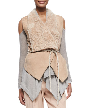 Self-Belted Vest W/ Fur Collar