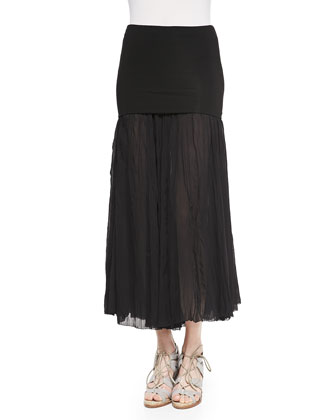 Boat-Neck Top W/ Open Peplum & Folded-Waist Broomstick Skirt