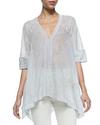 Half-Sleeve Semisheer Floral Blouse & Mid-Rise Seamed Skinny Pants