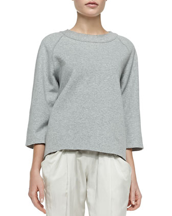 3/4-Sleeve Easy Pullover & Ribbed-Trim Ankle Pants