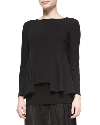 Boat-Neck Top W/ Open Peplum