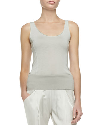 Scoop-Neck Tank Tunic & Ribbed-Trim Ankle Pants
